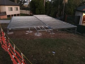 Steel suspended